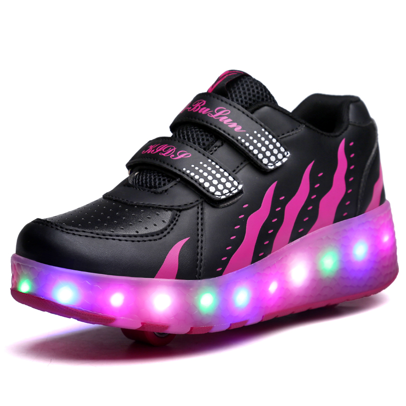 LED Children Shoes Boys Girls With Two Wheels Sports Casual Roller Skates Fashion Kids Sneakers Eur