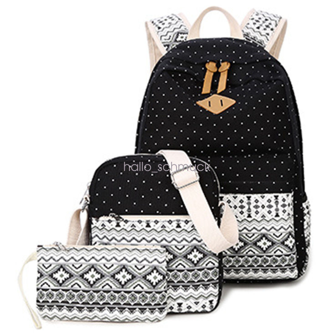 3pcs/Set Backpack Women Canvas Travel Bookbags School Bags for Teenage Girls  Backpack Purse  Bookbag