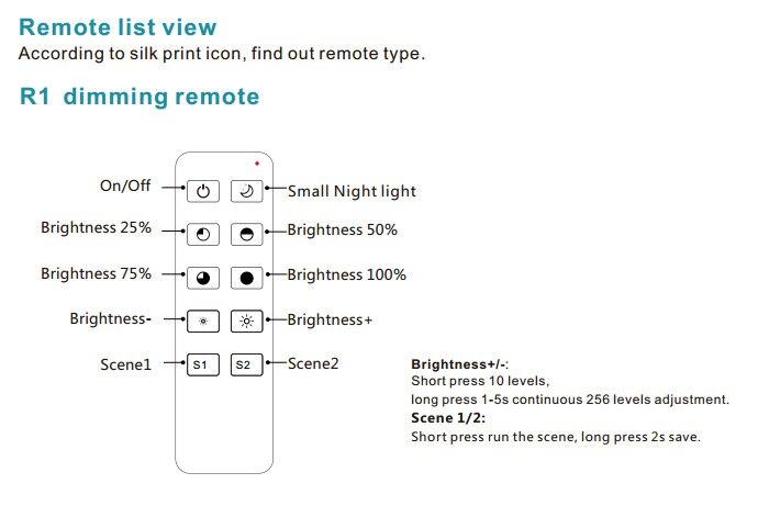 rf uso do dimmer com controle remoto