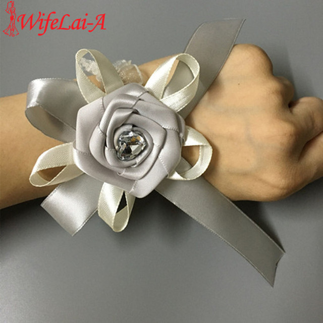 WifeLai-A 10 piece/Lot Silver Color Bouquet Corsage Hand Wrist Flower Diamond Rose Accessories for Wedding Bride and Groom X1109