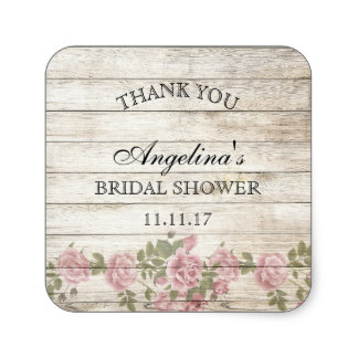 38cm rustic vintage floral bridal shower thank you square sticker in stickers from home garden on aliexpresscom alibaba group