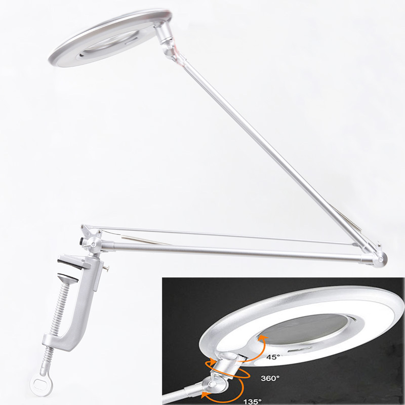 LED Magnifier Lamp Adjustable Swivel Arm 8X Magnifying Clip on Table desk Lamp Light Beauty Skincare