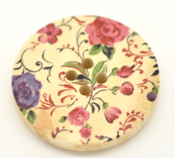 DoreenBeads Flower 4 Holes Wood Painting Sewing Buttons Scrapbooking 30mm,sold per packet of 30 2015 new
