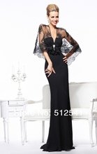 Fashion Black Evening Dress 2013 Noble V-Neck Sheath Floor Length Sleeveless Chiffon Beads with lace Dress Smock R-232