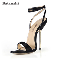 Batzuzhi Handmade Women Sandal Designer Shoes Iron Metal 12 4cm High Heels Black Open Toe Ankle