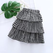 Gingham Check Multilayer Kilt Plaid skirt Girls' Fashion Cute Children's Clothes Children's Beach Holiday Clothes 2019(China)