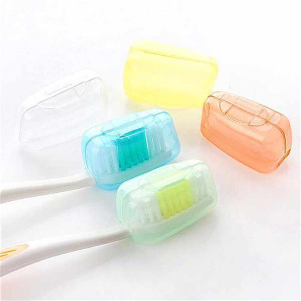 Hot Bathroom Accessories 5 Piece Colorful Set Portable Travel Toothbrush Cover Wash Brush Cap Case Box Camping Hiking Safe Case
