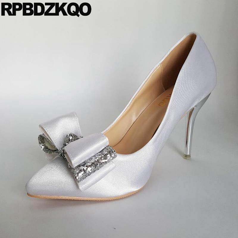 цены 12 44 White Ladies Shoes For Wedding Satin High Heels Bride Small Size 33 Medium Bow 13 45 Glitter Pumps Thin Pointed Toe Big