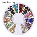 New Top Quality 1 wheel 2mm 3mm 3D Nail Art Tips Mixed Glitter Sharp End Rhinestone DIY Nail Decoration Wheel