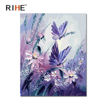 RIHE Butterfly Diy Painting By Numbers Pink Flowers Oil Cuadros Decoracion Acrylic Paint On Canvas 2018 Modern Wall Art