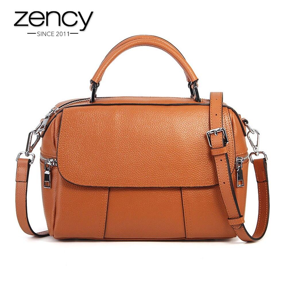Zency 100% جلد طبيعي حقيبة يد الأزياء حقيبة نسائية صغيرة حقيبة البني سيدة Crossbody رسول محفظة حقائب الكتف عالية الجودة-في حقائب قصيرة من حقائب وأمتعة على  مجموعة 1