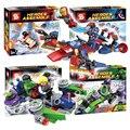 4 unids/set sy234 dc comics iron man hulk thor capitán américa carril divisor dirigible ladrillos juguetes compatibles con lego