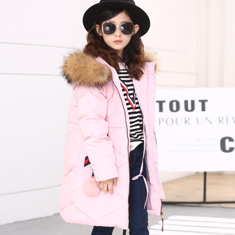 2018 Fashion Girls Winter Coat Children's Duck Down Jacket for Girl Clothes Warm Outerwear Coats Fur Long Model Jackets Parka a15 girls jackets winter 2017 long warm duck down jacket for girl children outerwear jacket coats big girl clothes 10 12 14 year