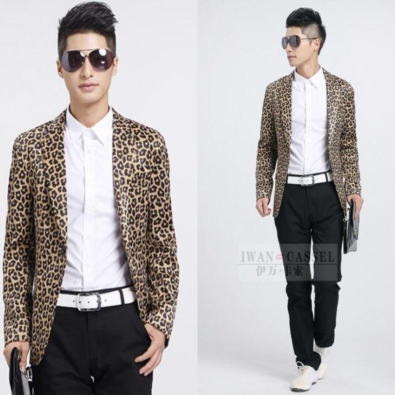 Pánské Leopard tisk Blazer Blaser Masculino Veste kostým Homme Blazer Muži Blazer Masculino Slim Fit Květinové Blazer Muži