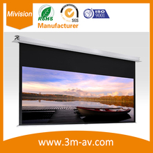 113″ 1:1 Aluminum In-Ceiling Recessed electric Projector Screen with 3-in-1 remote control sets