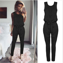 2018 Summer Rompers Womens Jumpsuit Sexy Ladies Casual Elegant Sleeveless Long Trousers Plus Size S -Xl
