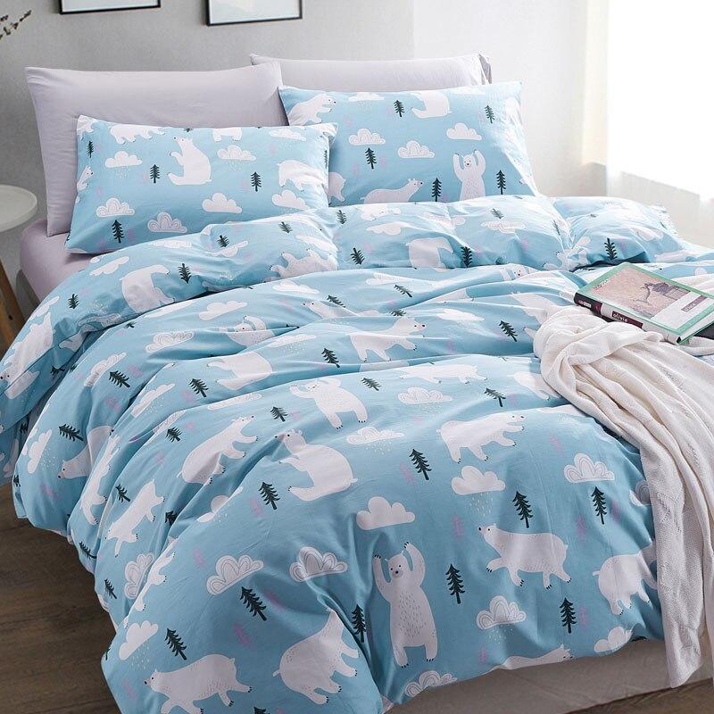 cotton duvet cover set 3pcs 1 duvet cover 2 pillowcases twin full queen size free shipping polar. Black Bedroom Furniture Sets. Home Design Ideas