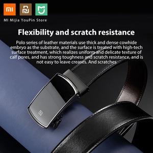 Image 3 - Xiaomi Qimian עסקים שחור איטלקי עור Automaitc אבזם חגורת כללי גודל 120CM אורך יוקרה אמיתי עור חגורת זכר
