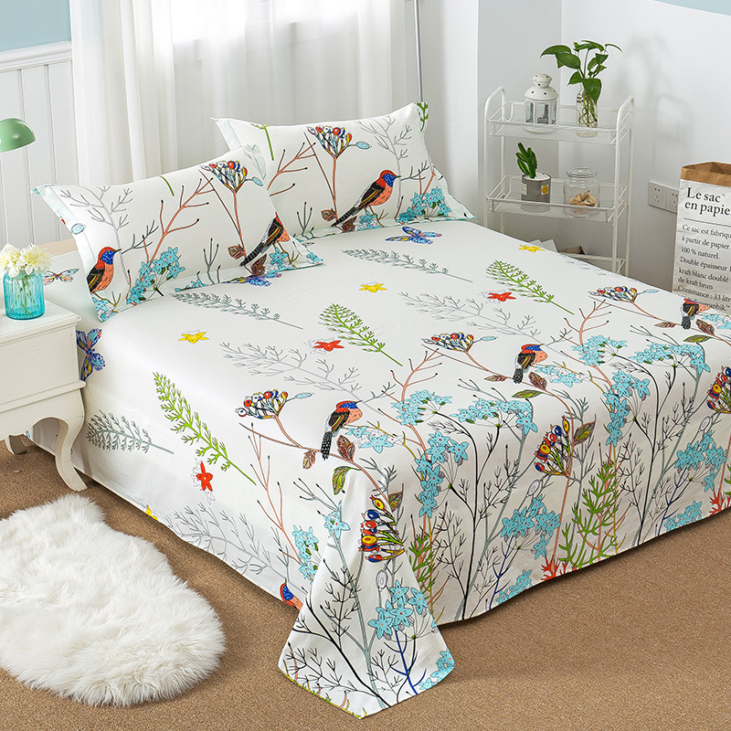 Floral Bird Pattern Flat Sheet 100% Cotton Bed Sheet for Child Kids Adults Twin Full Queen King Size Mattress Protector Cover