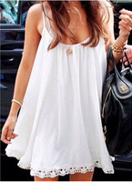 Beach Woman Summer 2016 New Arrival Clothes Fashion Female Brand Sexy Party White Spaghetti Strap Shift Dress Free Shipping
