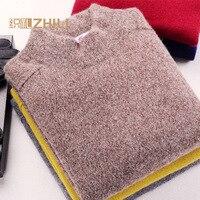 Для мужчин 100% кашемировый свитер 2016 Мужчин's повседневное зима вязать Теплый Половина Водолазка пуловер пальто Верхняя одежда