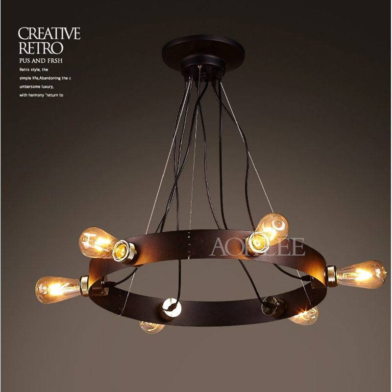 Post-modern 5 Bulbs New Classica Vintage Industrial Edison Iron Loft Pendant Light Lamp Droplight Cafe Fixtures Indoor Lighting edison inustrial loft vintage amber glass basin pendant lights lamp for cafe bar hall bedroom club dining room droplight decor