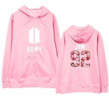 Bangtan boys army and member name floral printing thin hoodie for spring autumn kpop unisex black/pink sweatshirt loose hoodies