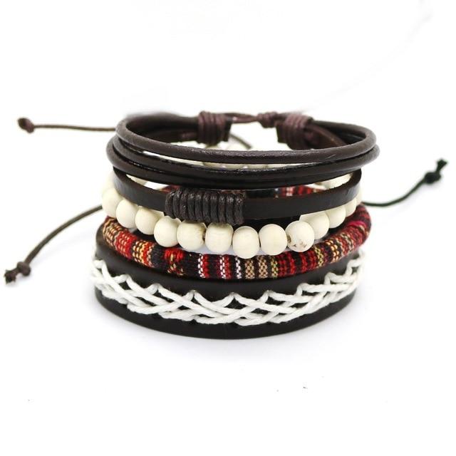 1 Set 4PCS leather bracelet Men's multi-layer bead bracelet women's retro punk casual men's jewelry bracelet jewelry accessories 1