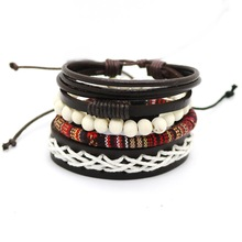 Leather Bracelet – Men's Multi-layer bead bracelet
