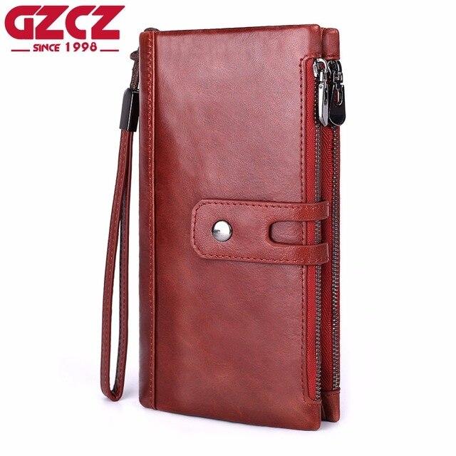 GZCZ известный бренд женская сумка из натуральной кожи ежедневные клатчи модные высококачественные кошельки на молнии и застежке и длинный дизайн наручные сумки