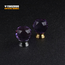 Hot K9 Purple Crystal Glass Spherical Drawer Handle Cabinet Kitchen Cabinet Door  Knob Gold And Silver