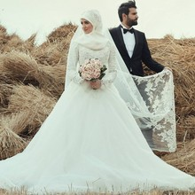 Modest Muslim Hijab Wedding Dresses 2017 High Quality A line White Lace Long Sleeve Wedding Gowns with Bow Belt Bridal Dress