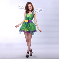 VASHEJINAG Adult Green Forest Elf Costumes Girls Butterfly Costume With Wings Adult Halloween Flower Fairy Cosplay