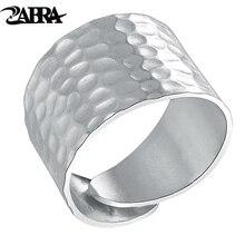 ZABRA Solid 925 Sterling Zilver Opening 16mm Breed Waterrimpelingen Vrouwen Ring Bruiloft Engagement Liefde Mode Gift voor Meisje sieraden