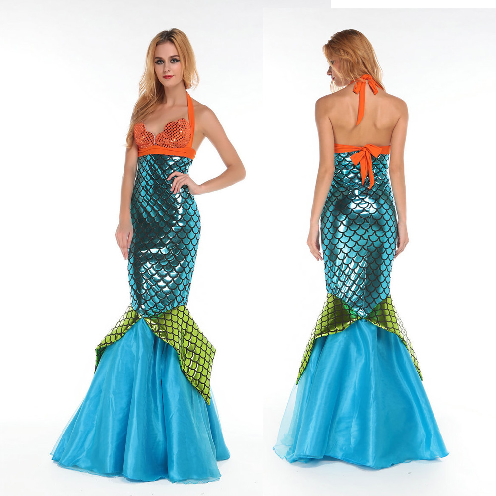 Adult Sexy Blue Mermaid Tail Long Dress Cosplay Costume For Woman Hallowenn Carnival -9103