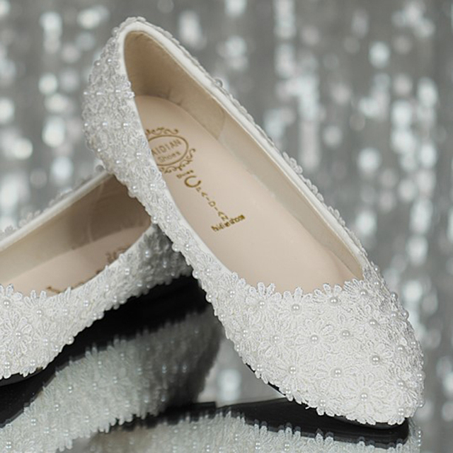 Handmade bridal wedding shoes white flat lace pearls bridesmaid wedding  shoes lace flowers sys-195 5b9c7acc9439