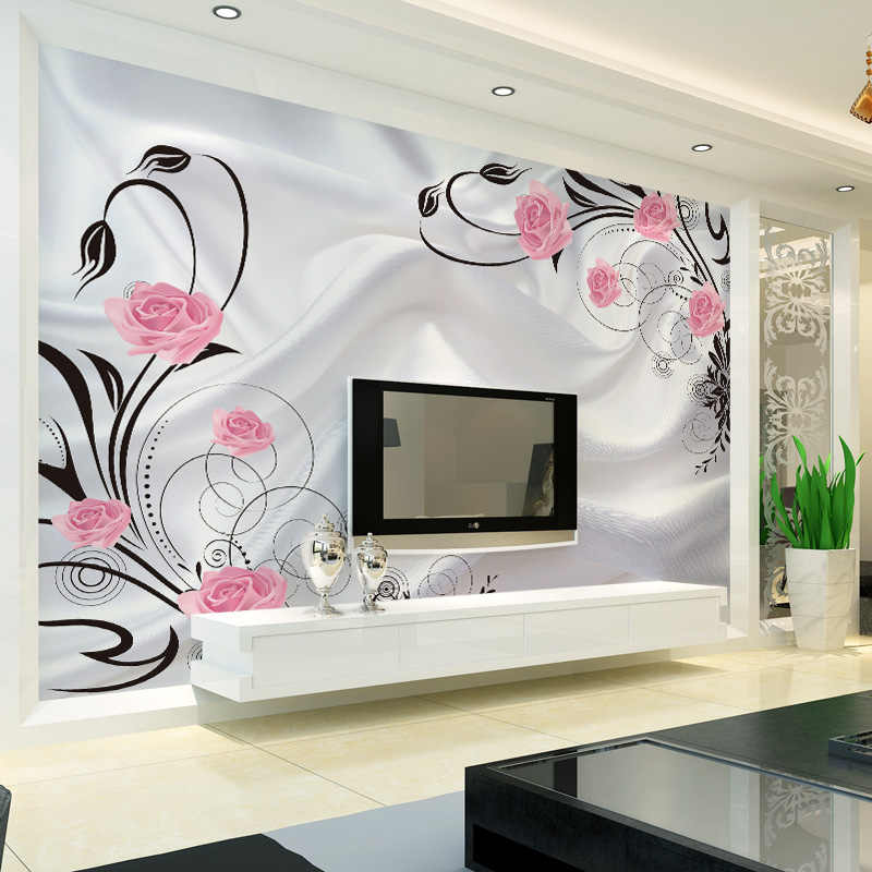 تخصيص ثلاثية الأبعاد زهرة صور خلفيات غرفة المعيشة غرفة نوم أريكة التلفزيون خلفية خلفية ارتفع الزهور جداريات لفة خلفية