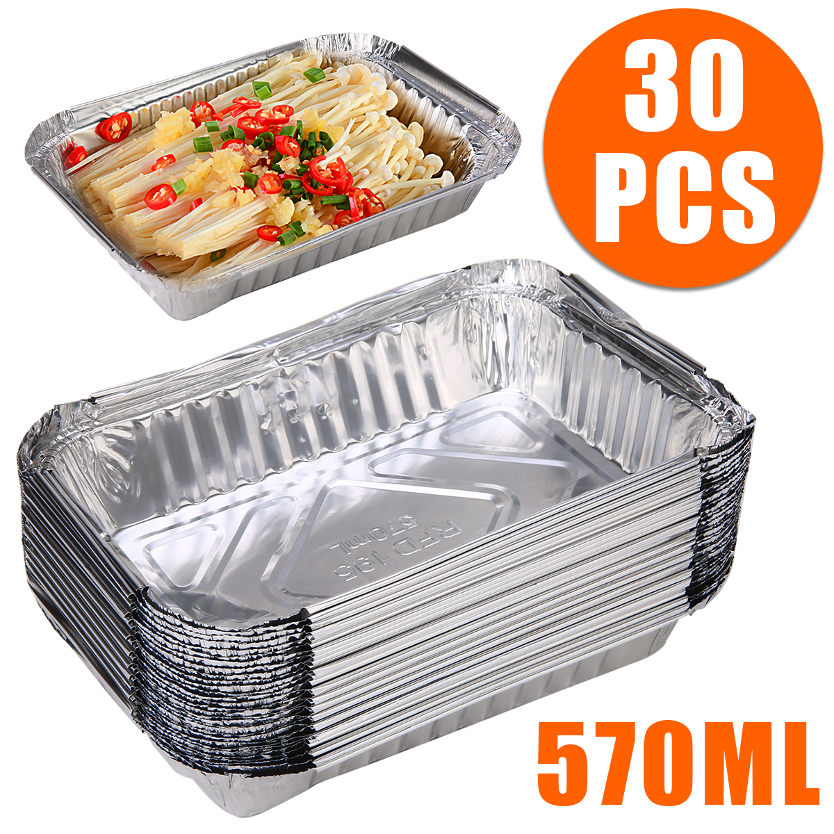 30pcs BBQ Aluminum Foil Grease Drip Pans Recyclable Grill Catch Tray Catch Pans Replacement Liner Trays For BBQ Tools