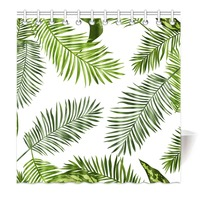 Shower Curtain Simple Green Tropical Plant Palm Leaves Printing Waterproof Mildewproof Polyester Fabric Bath Curtain Set