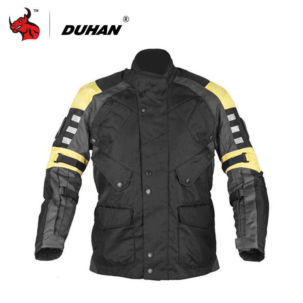 DUHAN Professional Motorcycle Racing Jacket Men's Motocross Off-Road Windproof Clothes Body Protective Moto Jacket  Black pro biker mcs 01a motorcycle racing full finger protective gloves blue black size m pair