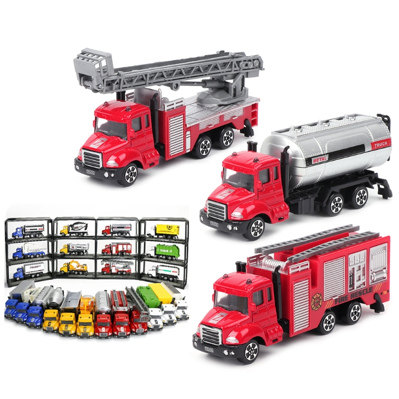 Mini Cartoon Toy Ladder Car Diecast Model Alloy Metal Kids Toys Cars 1:64-M15