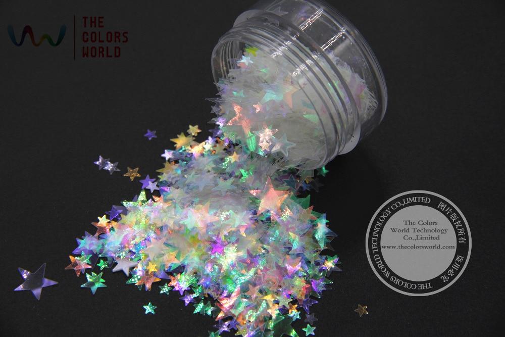 Spiegel Glanz Glitter Für Nail Art Diy Dekoration Nails Art & Werkzeuge Nagelglitzer MüHsam Sr346-364 Weiße Farbe Mit Lila Rot Licht Bunte Sterne Form Glitter