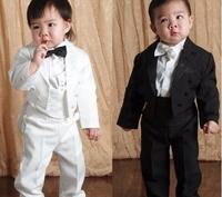 High Quality Baby boy tuxedo suit for wedding child blazer clothing set 5pcs:coat+vest+shirt+tie+pants boy formal dress 1 3year