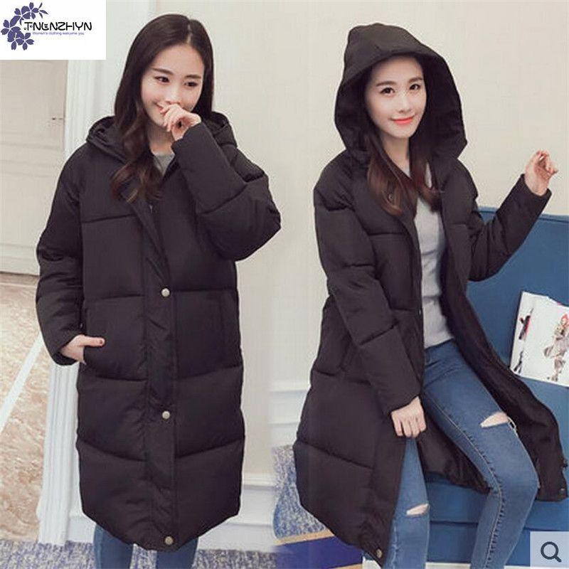 ФОТО TNLNZHYN Women's clothing coat New Winter Fashion Women jackets Large size hooded cotton Thicken warm Long Female Outerwear WU02