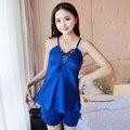 Women's Sexy Silk Satin Pyjamas Set Sleeveless Pijama Feminino V-neck Pajama Set Summer Sleepwear Set Embroidery Night Wear