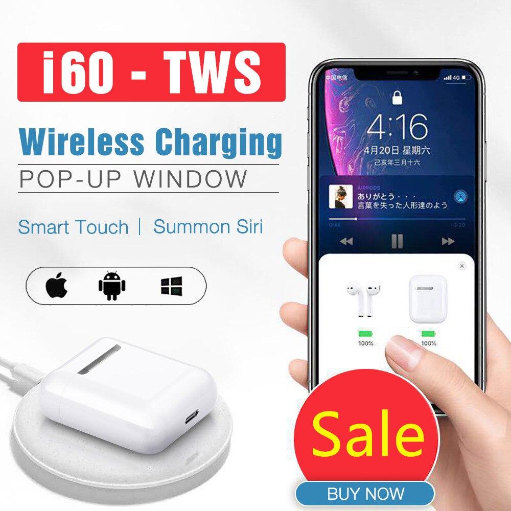 Sans fil Original i60 tws 1:1 Pop-up casque Bluetooth 5.0 écouteur basse dans l'oreille casque sport écouteurs pour iPhone Xiaomi cadeau