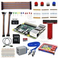 Free shipping Raspberry Pi 3 Ultimate Starter Kit Wifi HDMI Rainbow Pibow SD Card Breadboard DC Motor SD Card headphones