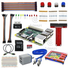 Free transport Raspberry Pi three Final Starter Equipment Wifi HDMI Rainbow Pibow SD Card Breadboard DC Motor SD Card headphones