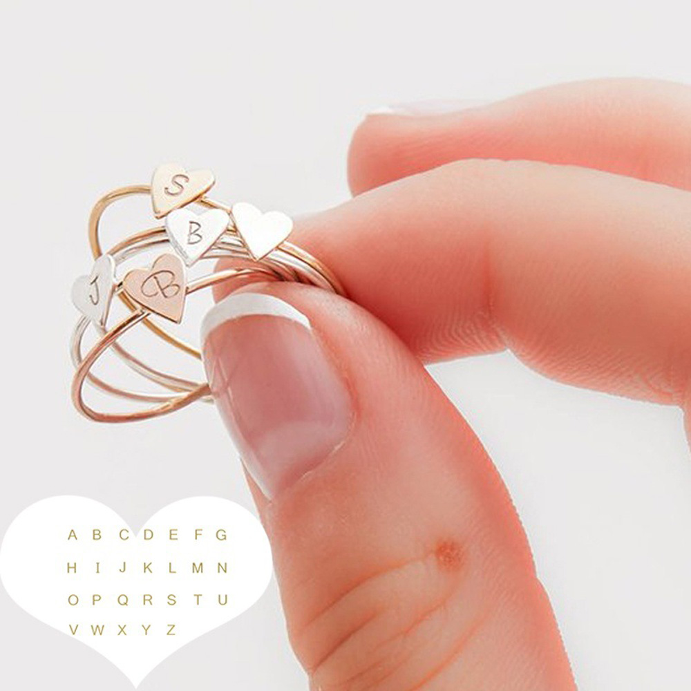 Adjustable Personalized Hand Stamped Stacking A-Z 26 Letters Initial Tiny Heart Rings for Women Gold Color Finger Rings Jewelry 1