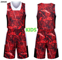Kids Colorful printing Breathable throwback basketball jerseys kit 2017 children's best quality Basketball Shirt shorts LIE822-1